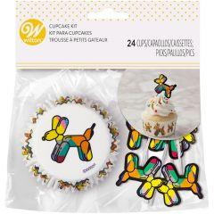 Muffinsform STD med picks Balloon Dogs 24 stk