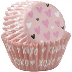 Muffinsform MINI Heart Pink, 100 Stk