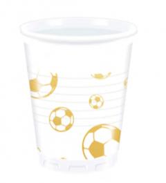 Drikkekrus i plast, Fotball Gull 8 stk