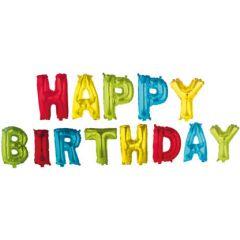 Ballong Folie Happy Birthday ass farger