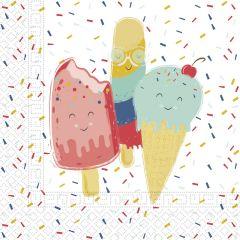 Papirservietter Happy Ice Cream 20 stk, 33x33cm