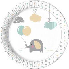 Papptallerken Babyshower Elefant 23 cm, 8 stk