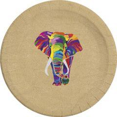 Papptallerken Elefant 23 cm, 8 stk COMPOSTABLE