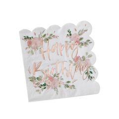 Servietter Happy Birthday Ditsy Floral, 16 stk