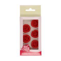 Kakepynt Roser Rød 6 stk Marsipan, 2,5cm