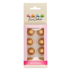 Sjokoladekuler Gull Pearl 8 stk (2 cm)