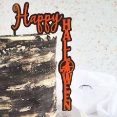 Kaketopper HappyHalloween Orange/Sort acryl, 12cm