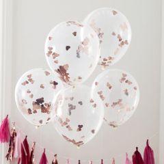 Ballong med Hjerter Rose Gold 30 cm, 5 stk