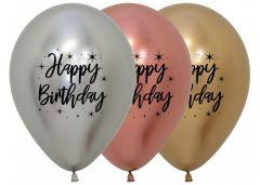 Ballonger Happy Birthday RoseGull Reflex 30cm, STK