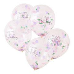 Ballong med Confetti Blomster, Happy Birthday