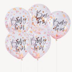 Ballong med Confetti i Baby Girl Rosa 30 cm, 5 stk