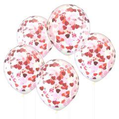 Ballong Confetti med Hjerte 90 cm, 5 stk
